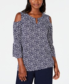 JM Collection Cold-Shoulder Keyhole-Neck Top, Created for Macy's
