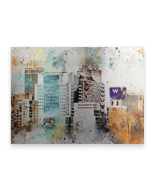 """Trademark Global Philippe Hugonnard NYC Watercolor Collection - W Sign Floating Brushed Aluminum Art - 21"""" x 25"""""""