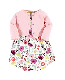 Organic Cotton Dress and Cardigan Set, Botanical, 3 Toddler