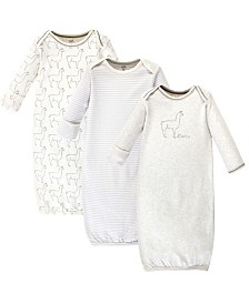 Touched by Nature Organic Cotton Gown, 3 Pack, Llama