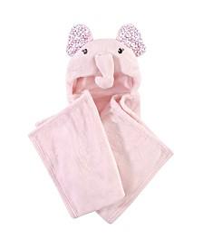 Little Treasure Hooded Plush Blanket, Floral Elephant
