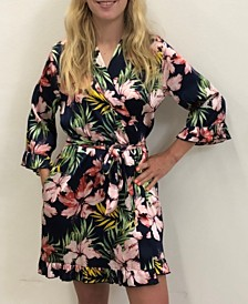 Wedding Prep Gals Ruffle Tropical Robe, Online Only