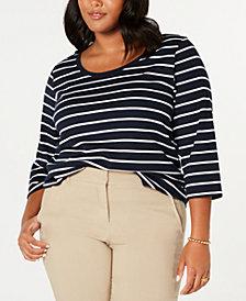 Tommy Hilfiger Plus Size Striped Cotton T-Shirt