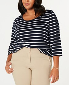 Tommy Hilfiger Plus Size Striped Cotton T-Shirt