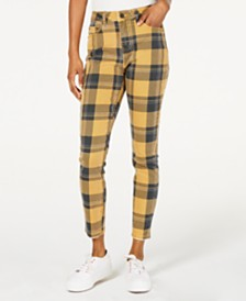 Indigo Rein Plaid Ankle Jeans