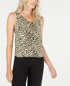 LEYDEN Sleeveless Animal Print V-Neck Top