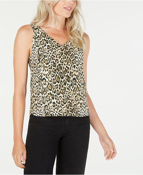 LEYDEN Leopard Print V-Neck Top