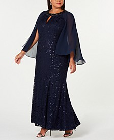 Plus Size Lace Capelet Gown