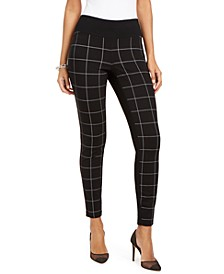 INC Curvy-Fit Windowpane Skinny Pants, Created for Macy's