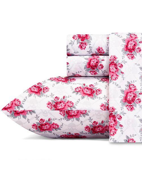 Betsey Johnson Skull Rose Trellis Sheet Set, King