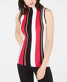 I.N.C. Ribbed Mock-Neck Sleeveless Sweater, Created for Macy's