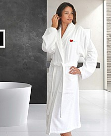 "Terry Bathrobe Embroidered with ""I Love You"""
