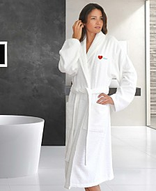 "Linum Home Terry Bathrobe Embroidered with ""I Love You"""