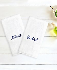 "Linum Home Terry 2-Pack of Hand Towels Embroidered with ""Mom/Dad"""