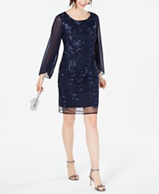 Connected Sequined Floral-Embroidered Dress