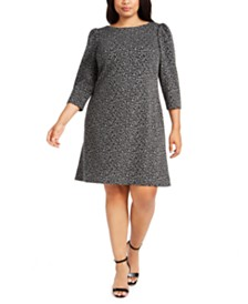 Calvin Klein Plus Size Animal-Print Ponté-Knit Dress