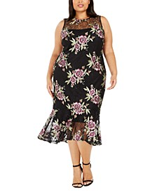 Plus Size Embroidered Lace Midi Dress