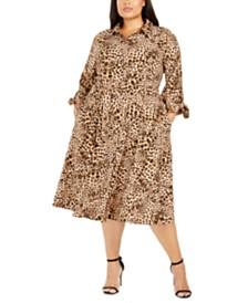 Calvin Klein Plus Size Animal-Print Shirtdress