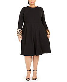 Calvin Klein Plus Size Printed Faux-Fur-Cuff Dress