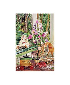 "David Lloyd Glover Rocking Horse Dolls and Lilacs Canvas Art - 37"" x 49"""
