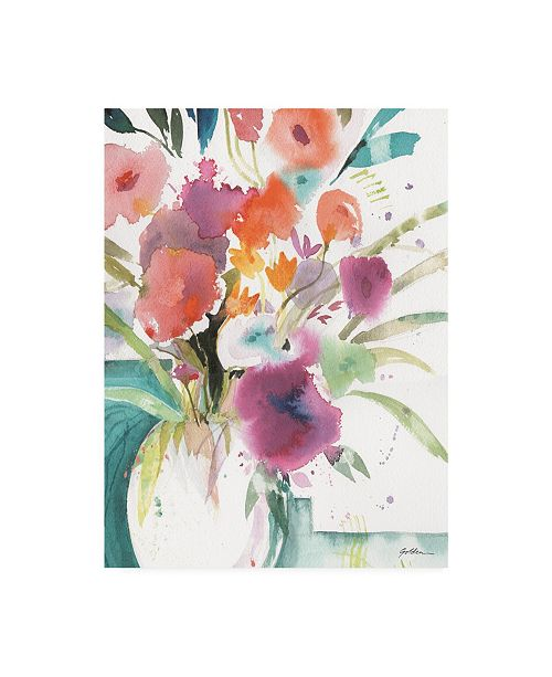 """Trademark Global Sheila Golden Bright Flowers 5 Canvas Art - 15"""" x 20"""""""