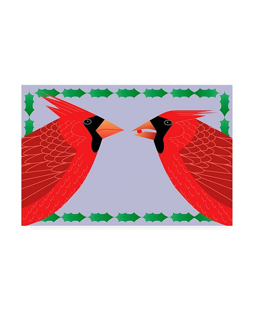 "Trademark Global Marie Sansone Cardinals Holly Canvas Art - 37"" x 49"""