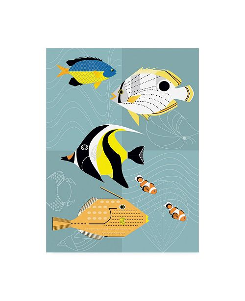 "Trademark Global Marie Sansone Tropical Fish Squares Canvas Art - 15"" x 20"""