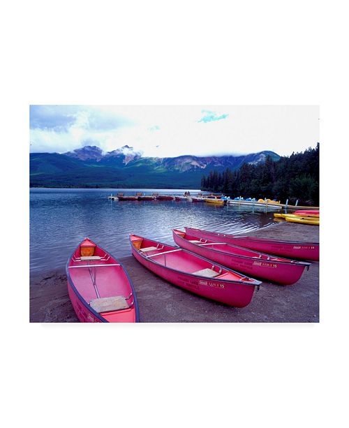 "Trademark Global Monte Nagler Four Pink Boats Canadian Rockies Canvas Art - 37"" x 49"""