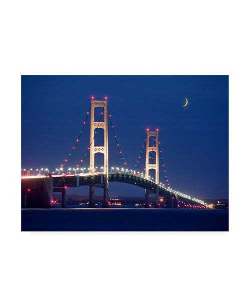 "Trademark Global Monte Nagler Mackinaw Bridge at Night St. Ignace Mi Color Canvas Art - 15"" x 20"""