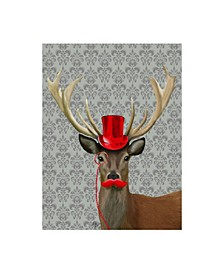 """Fab Funky Deer with Red Hat and Moustache Canvas Art - 27"""" x 33.5"""""""