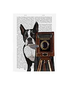 "Fab Funky Boston Terrier Photographer Camera Canvas Art - 15.5"" x 21"""