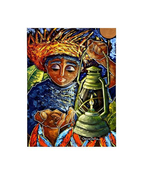 "Trademark Global Oscar Ortiz Boy & Lantern Canvas Art - 15.5"" x 21"""