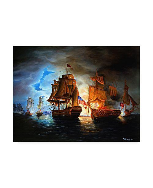 "Trademark Global Paul Walsh Bonhomme Richard and Serapis Battle Canvas Art - 19.5"" x 26"""