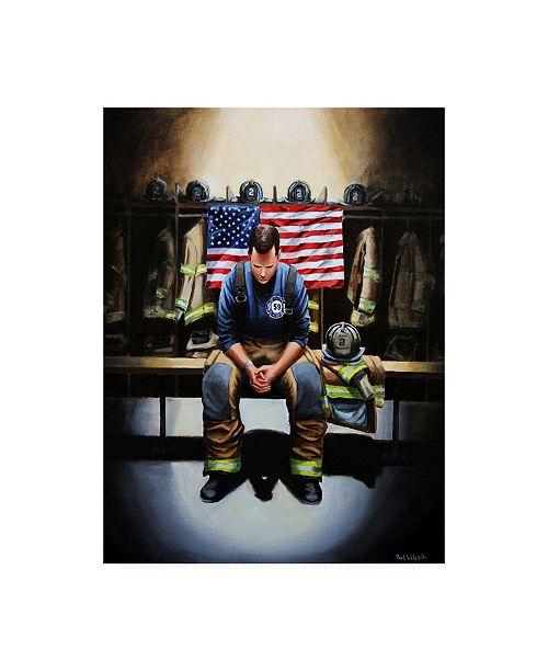 """Trademark Global Paul Walsh Praying Firefighter Canvas Art - 19.5"""" x 26"""""""