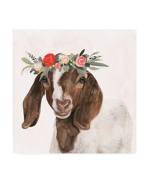 "Trademark Global Victoria Borges Garden Goat II Canvas Art - 19.5"" x 26"""
