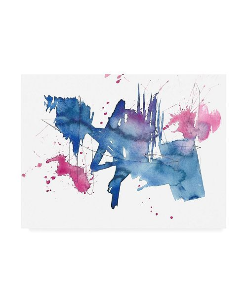 "Trademark Global Jennifer Goldberger Indigo and Magenta Splash II Canvas Art - 15.5"" x 21"""