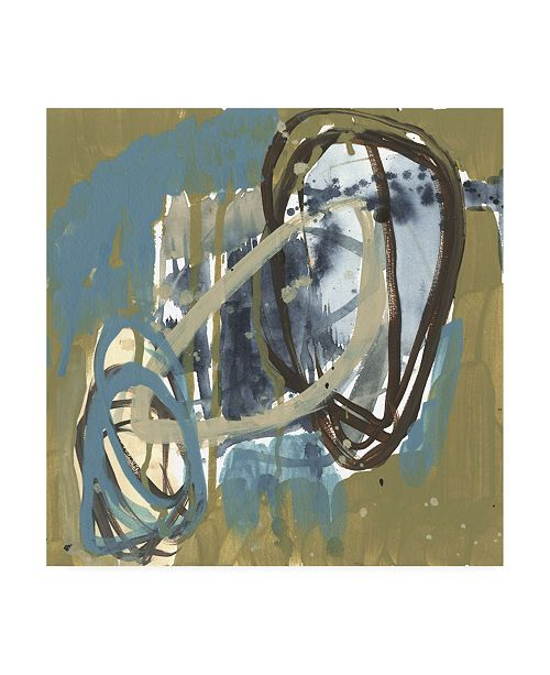 "Trademark Global Jennifer Goldberger Umber and Blue Rounds II Canvas Art - 19.5"" x 26"""