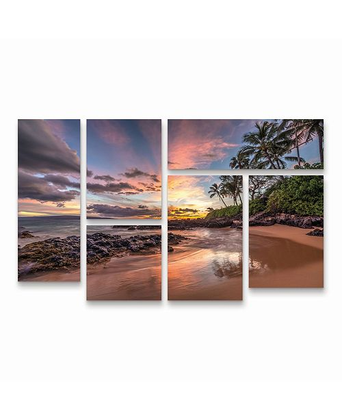 "Trademark Global Pierre Leclerc Hawaiian Sunset Wonder Multi Panel Art Set 6 Piece - 49"" x 19"""