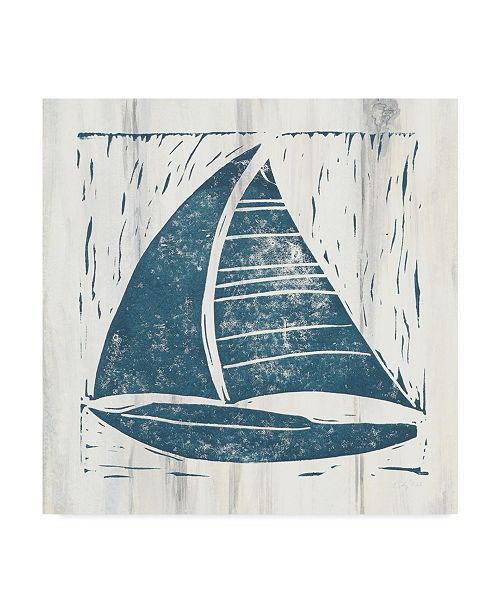 "Trademark Global Courtney Prahl Nautical Collage IV on White Wood Canvas Art - 27"" x 33"""