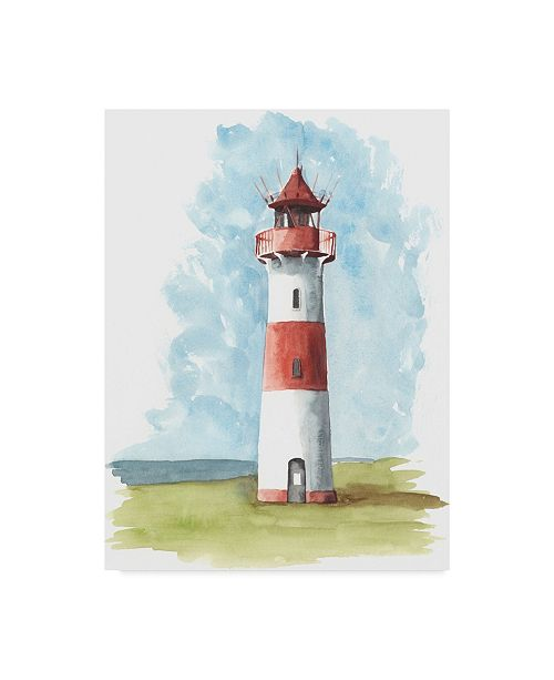 "Trademark Global Naomi Mccavitt Watercolor Lighthouse II Canvas Art - 37"" x 49"""