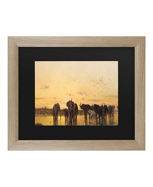 "Trademark Global Charles Emile De Tournemine African Elephants Matted Framed Art - 37"" x 49"""