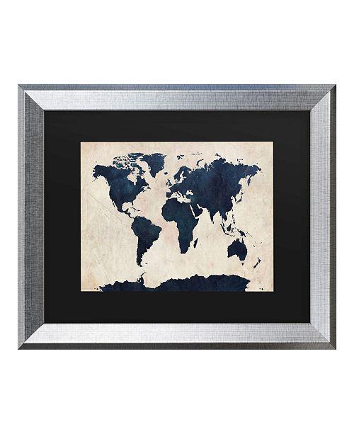 "Trademark Global Michael Tompsett World Map - Navy Matted Framed Art - 27"" x 33"""