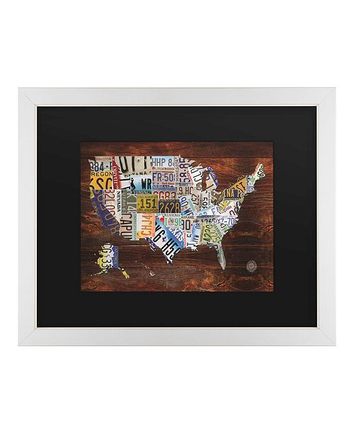 """Trademark Global Masters Fine Art USA License Plate Map on Wood Matted Framed Art - 20"""" x 25"""""""