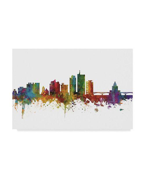 "Trademark Global Michael Tompsett Cedar Rapids Iowa Skyline II Canvas Art - 20"" x 25"""