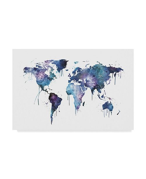 "Trademark Global Michael Tompsett Watercolor Map of the World Map Canvas Art - 20"" x 25"""