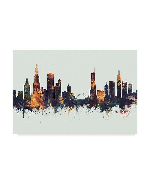 "Trademark Global Michael Tompsett Chicago Illinois Skyline Dark IV Canvas Art - 20"" x 25"""