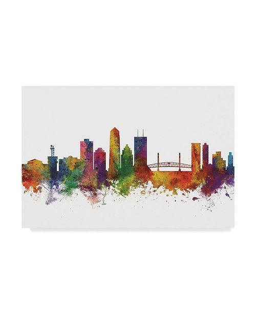 "Trademark Global Michael Tompsett Jacksonville Florida Skyline II Canvas Art - 15"" x 20"""