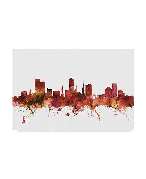 "Trademark Global Michael Tompsett Leicester England Skyline Red Canvas Art - 20"" x 25"""