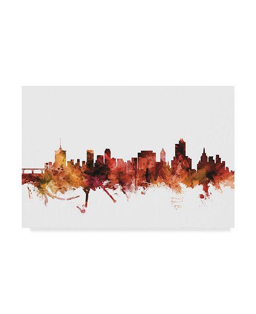 "Trademark Global Michael Tompsett Tulsa Oklahoma Skyline Red Canvas Art - 37"" x 49"""