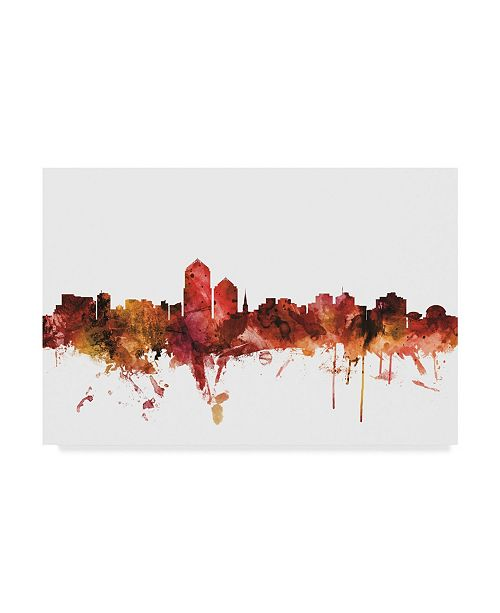 "Trademark Global Michael Tompsett Albuquerque New Mexico Skyline Red Canvas Art - 20"" x 25"""